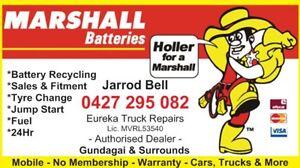 Marshall Batteries-24Hr-Battery Recycling-Flat Tyre-Jump Start-Fuel Gundagai Gundagai Area Preview