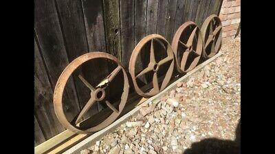 Vintage Cast Iron x 4 Shepherd Hut Wheels 24
