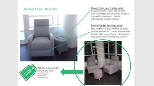 2 Recliner Chairs & 1 machting stool