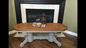 Solid Oak Coffee Table with Rustic Finish  $250