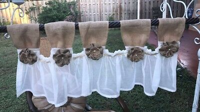 New French collector's Twine -Shabby Rustic Chic BURLAP Curtain Valance Country Whit