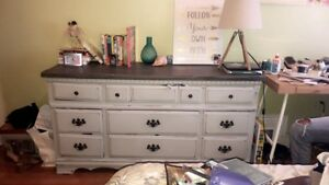 Shabby chic grey dresser and side table