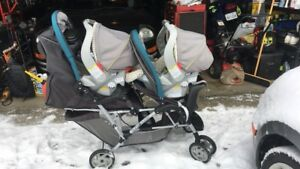 2 car seats, 4 bases, a double stroller, & 4 car seat covers