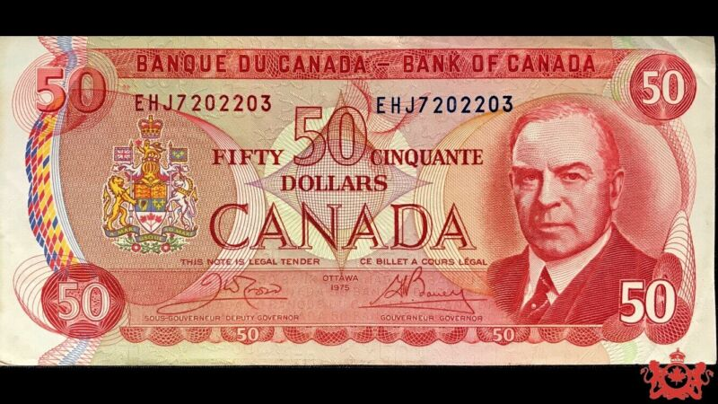 1975 Bank Of Canada 50$ Crow/Bouey EHJ7202203 - EF/AU -