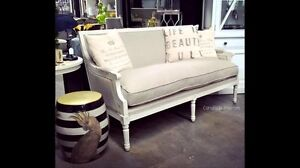 Worthington Canapé Sofa - distressed white and nautural linen Caringbah Sutherland Area Preview