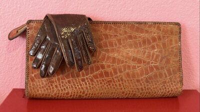 1940s Handbags and Purses History Vintage 1940s Handbag • Brown Alligator Clutch Purse • Large $64.00 AT vintagedancer.com