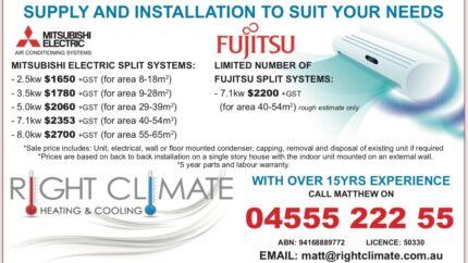 Air conditioning sale, Fujitsu and Mitsubishi electric
