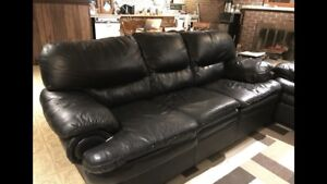 Black leather couch, love seat & arm chair