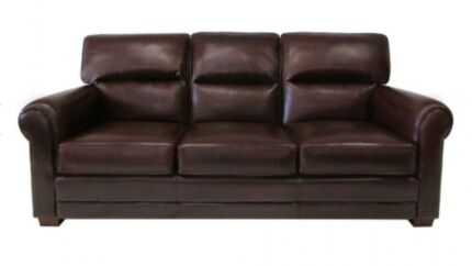 MORAN Genuine LEATHER Lounge SOFA Rolled ARM Chair COUCH
