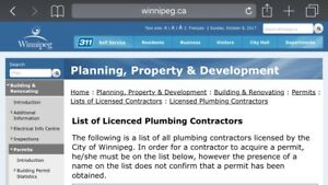 Fully Licensed Plumber - Confirm on city of wpg contractors list