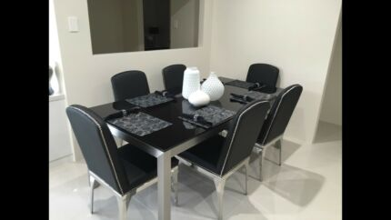Tempered Black Glass Dining Table Only 250