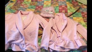 Land's End pink ruffle cardigans