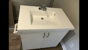 Full Bathroom Vanity with Counter, Sink, and Faucet