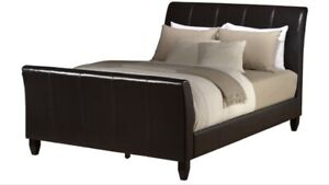 King size leather sleigh bed frame (no mattress)