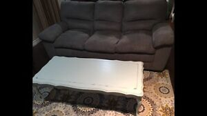 Grey microsuede couch