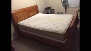 Wooden Sleigh Bed w/ mattress and Box spring QUEEN SIZE