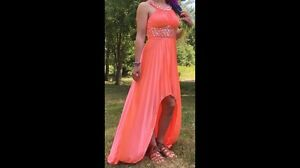 Coral embellished prom dress price reduced!