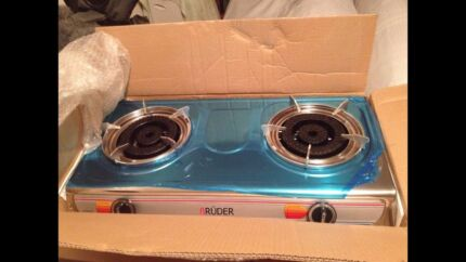 Brand new two burner gas stove cooktop stainless steel