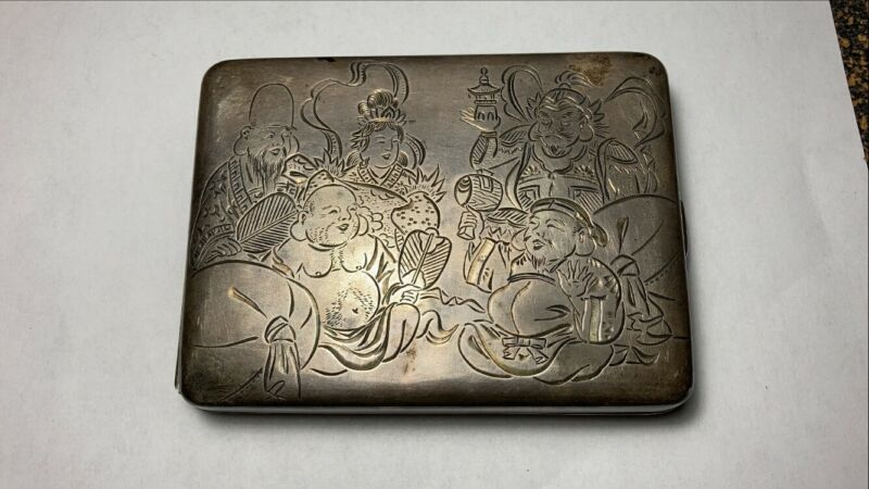 Signed Japanese Chinese Cigarette Box Sterling 950