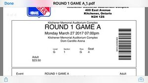 4 tickets for Kitchener Rangers Playoff game