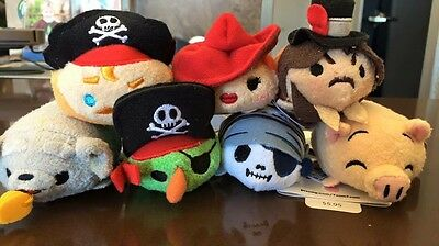 In-hand US Disney Parks Pirates of the Caribbean Tsum Tsum SET of 7 plushes
