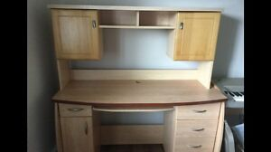 Light brown desk with hutch