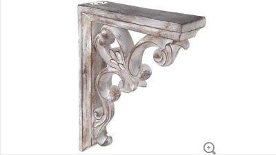 LARGE RUSTIC CORBELS / BRACKETS Distressed White Ornate Wood Corbels Set Of 2