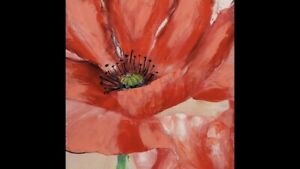 RED POPPY Flower Canvas Print Wall Art 80x80cm Artwork Floral Painting Camp Hill Brisbane South East Preview