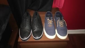 Left: black leather dress shoes/right: polo boat shoes