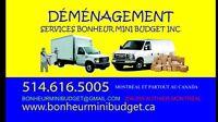 25$ Déménagement Économique 24/24 Mini Budget 514-616-5005
