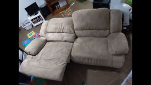 Tan Micro suede reclining couch
