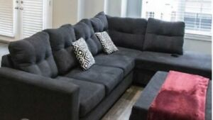 Black Sectional and Storage Ottoman