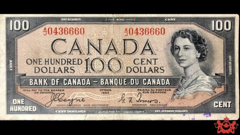 1954 Bank Of Canada 100$ Devil Face Coyne/Tower A/J0436660 - F/VF - Ink