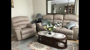 LEATHER BONDED RECLINING SOFA & CHAIR IN EXELLENT COND. $450.