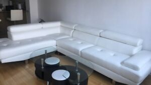 Genuine white leather sectional