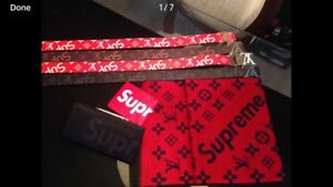 Brand name belts, hats, scarves, sweaters, wallets, shirts etc