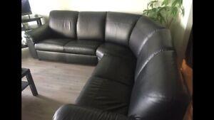 Ikea Timsfors corner leather sofa 2+2