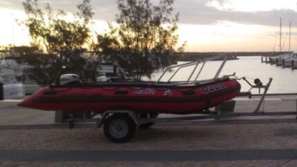 Red Inflatable Quiksilver Occi with Trailer