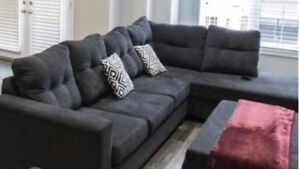Black Sectional and Storage Ottomon