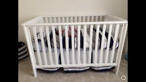 White crib set, change table, decor - Complete Nursery!