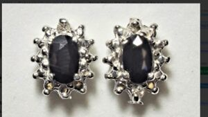 14K Gold Sapphire & Diamond Earrings (0.6CT)