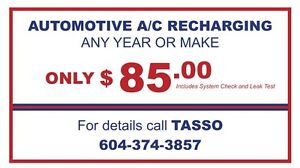 Automotive A/C Testing and Recharging $85