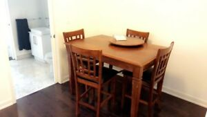 Pub style counter height table dining set w/ chairs