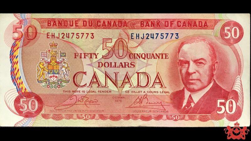 1975 Bank Of Canada 50$ Crow/Bouey EHJ2475773 - EF/AU -