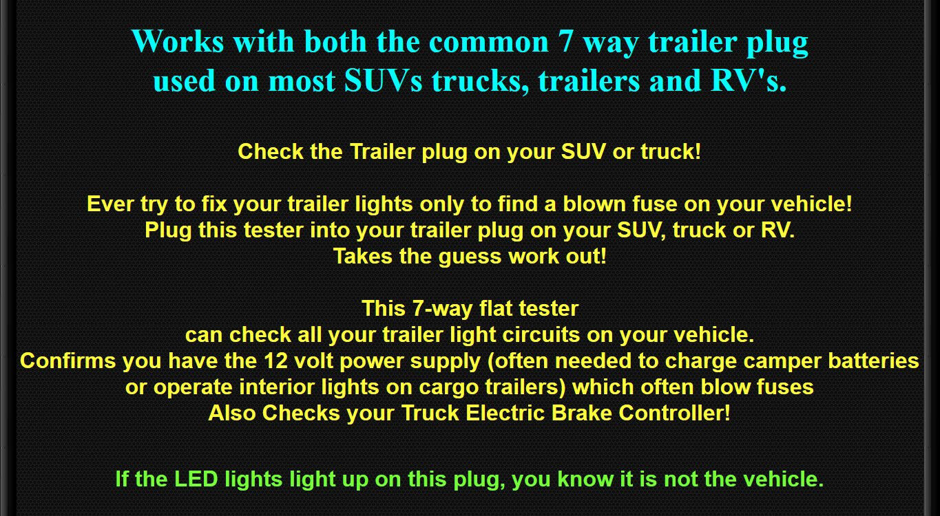 Set 7 Way Rv Plug 4 Flat Trailer Wiring Tester Ez Check How To Hook Up Lights Vehicle 10 Of 12