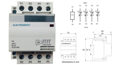 4 Pole NC Normally Close Contactor 60 Amp 120V Coil DIN 40A Lighting, 50Amp, 60A