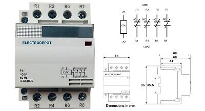 Lighting Contactor 40A 4 Pole, 40Amp, Normally Closed NC Silent 24VAC Coil, 30A 24vac 4 Amp