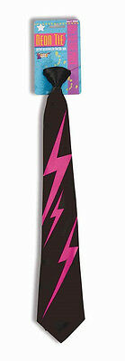 Lightning Bolt Tie Neon 80's Fancy Dress Up Halloween Costume Accessory 2 COLORS
