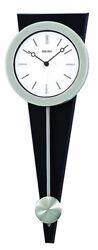 Seiko Beckett Analog Quartz Silver Tone Case on Black Wood Wall Clock QXC111SLH