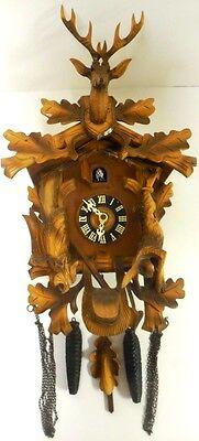 BEAUTIFUL VINTAGE G.M. AMGEN BLACK FOREST CARVED WOOD GERMAN CUCKOO CLOCK